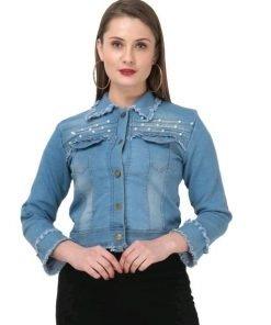 Full Sleeve Self Design Women Denim Jacket
