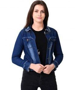 Full Sleeve Washed Women Denim Jacket