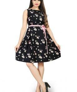 Beautiful Western Black Color Flower Print Top Dress