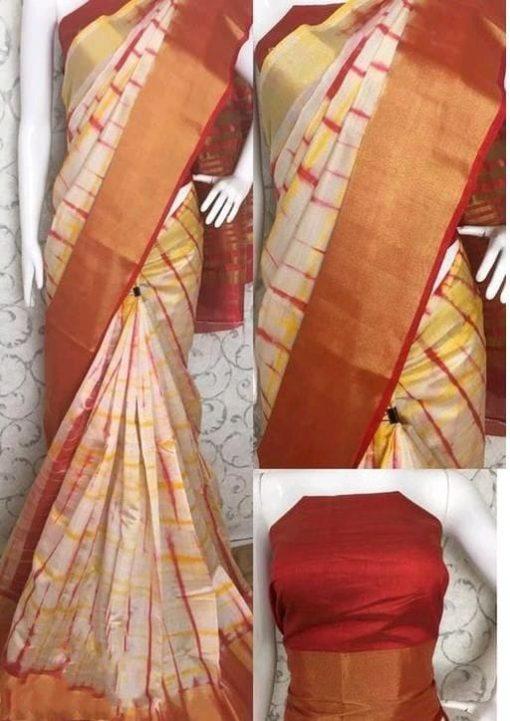 Shibori Print Orange Tussar Silk Saree