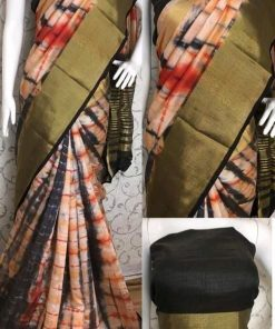 Shibori Print Multi color Tussar Silk Saree