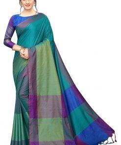 Bottal green art silk saree with multi color pallu