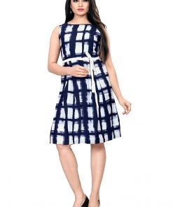 Beautiful Western Blue Chex Colorful Top Dress