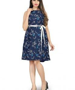 Beautiful Western Blue Colorful Top Dress