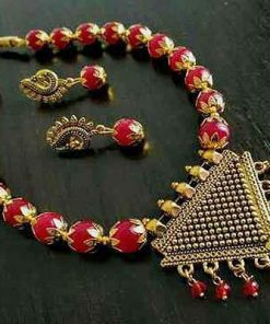 Oxidized Gold Beads Necklace Set With Earring
