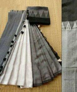Handloom White & Grey Color Cotton Khadi Sarees