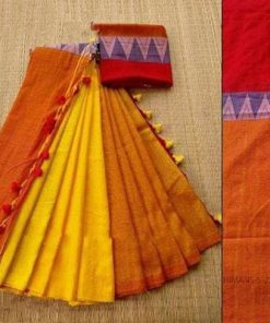 Handloom Yellow & Orange Color Cotton Khadi Sarees