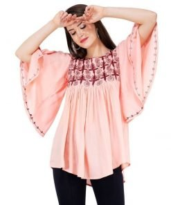 Pink Color Embroidered Cotton Western Top