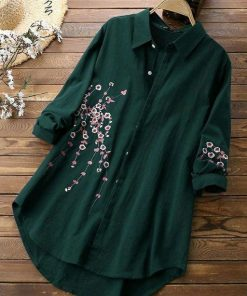 Women's Embroidered Green Rayon Top