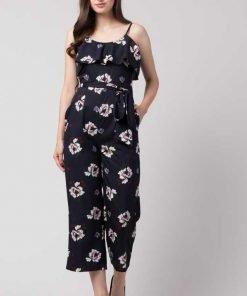 Floral Print Women Black Jumpsuit
