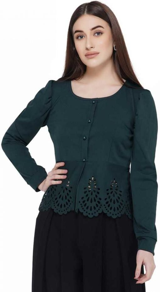 Casual Full Sleeve Solid Women Green Top