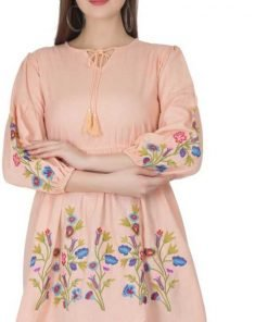 Beige Color Embroidered Women Top