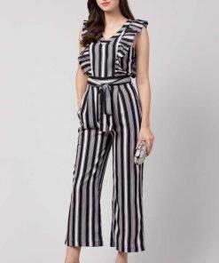 Striped Women Black & White Jumpsuit