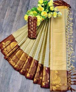 Cotton Silk Keri Jumka Border Beautiful Saree