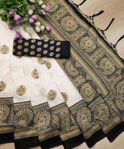 Beautiful Jacquard Print Art Silk Saree