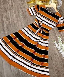 Yellow Striped Crepe Material Kurti