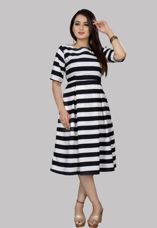 White Striped Crepe Knee Length Kurti