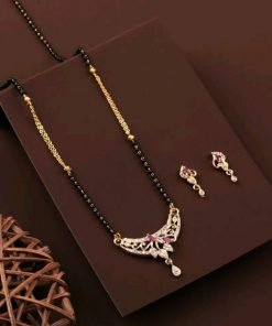 Designer gold plat mangalsutra with earing