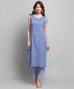 Women Kurta and Palazzo Set Cotton Blen