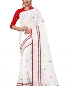 Beautiful Mirror with Embroidery work Pure linen saree