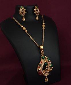 Gold Plated Diamond Work Meenakari Pendent Set