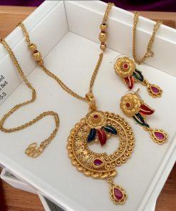 Gold Plated Brass Metal Designer Jewellery Set
