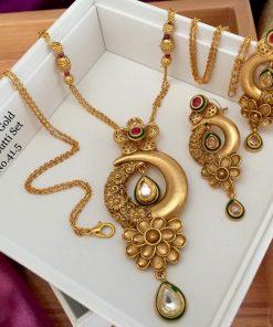 Rajwadi Kundan and Pearl Gold Plated Jewellery