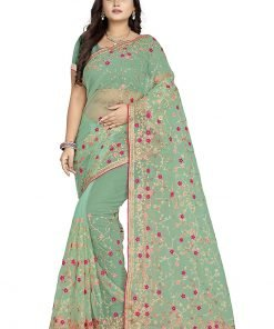 Women's Net Embroidery Saree With Blouse
