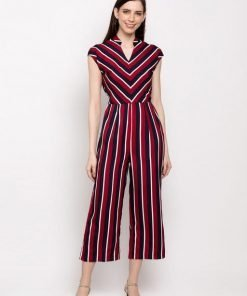 Red and Black Strip Poly Crepe Jumpsuit