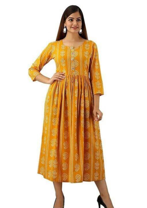 Daily Wear Rayon Fabrics Bandhani Printed yellow Kurti