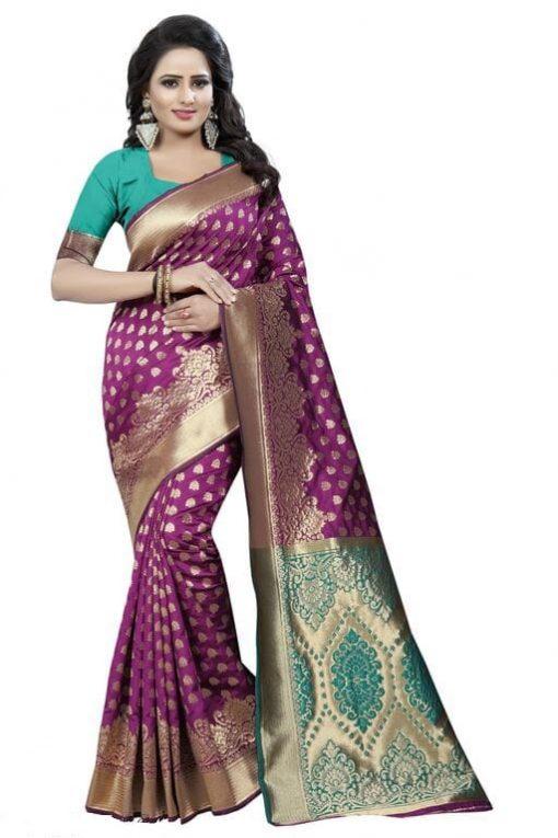 Jacquard silk multi color saree with blouse
