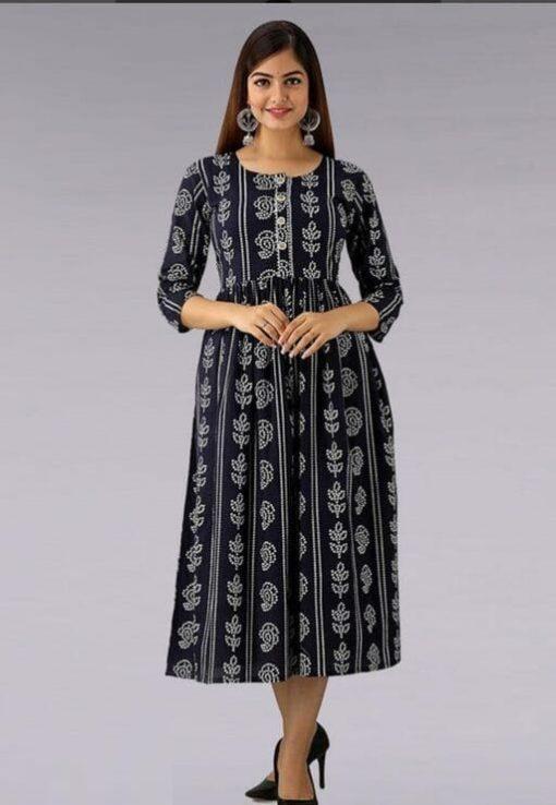 Daily Wear Rayon Fabrics Bandhani Printed black Kurti