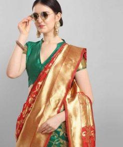 Designer silk blend jacquard saree