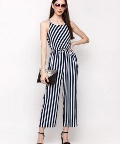 Women's Stripes Sleeveless Crepe Jumpsuit
