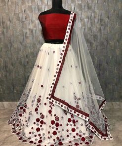 Net embroidery work white lehenga