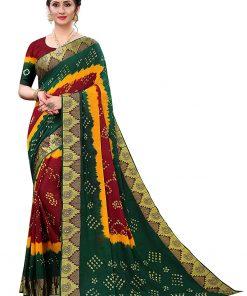 Cotton Bandhej Bandhani Saree with blouse Piece