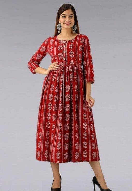 Daily Wear Rayon Fabrics Bandhani Printed red Kurti