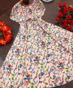 Women Flared Crepe Maxi Multi Color Dress