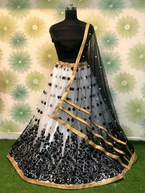 Thread embroidery work net lehenga choli