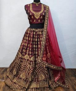 Designer taffeta silk embroidery lehenga choli