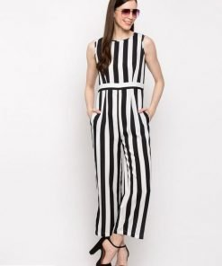 Stylish Crepe Strip Jumpsuite For Lady