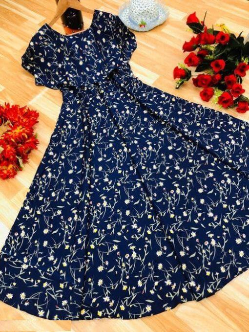 Crepe Maxi Blue Color Long Dress