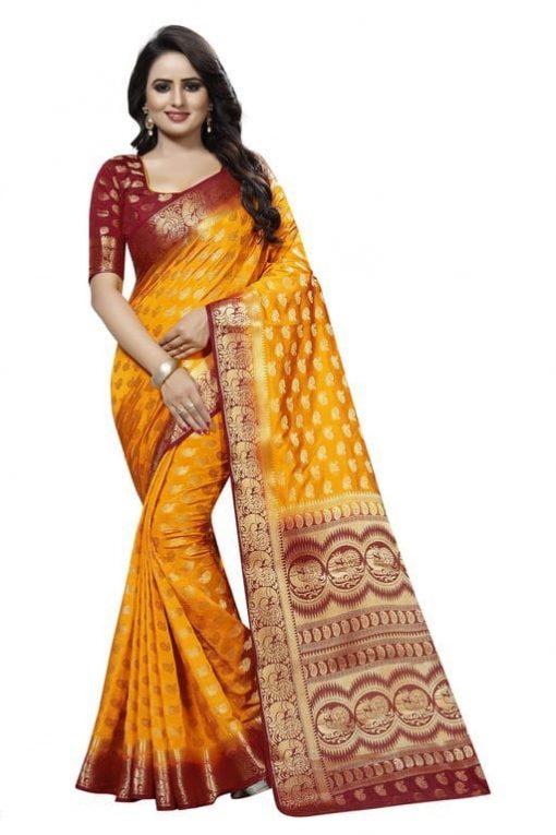 Women's Kanchipuram Silk Blend Saree