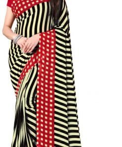 Checkered Striped Printed Daily Wear Georgette Saree