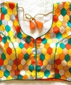 Digital Chex Print Blouse With Stitch