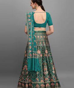 Silk Semi-stitched Green Lehenga Choli
