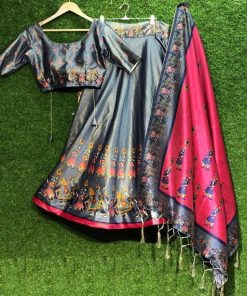Women's Satin Silk Digital Lehenga