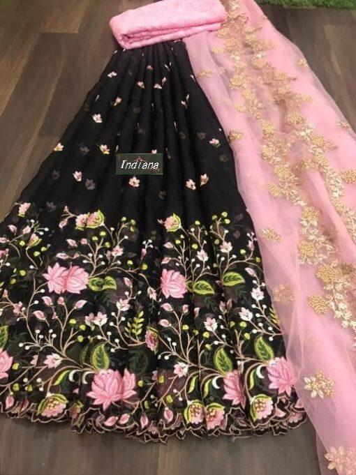 Women's Net Semi Stitched Lehenga Choli